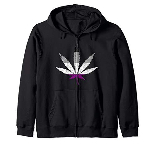 Distressed Asexual Pride Flag Marijuana Pot Leaf Zip Hoodie