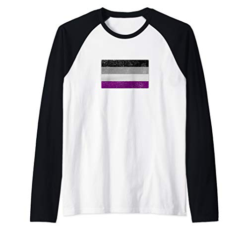 Distressed Asexual Pride Flag Raglan Baseball Tee