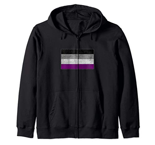 Distressed Asexual Pride Flag Zip Hoodie