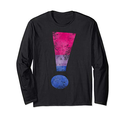 Distressed Bisexual Pride Exclamation Point Long Sleeve T-Shirt
