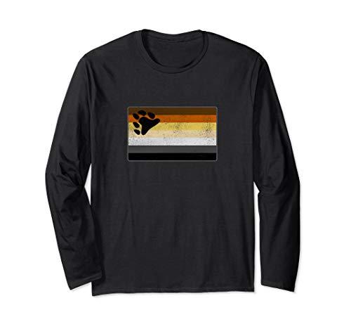 Distressed Gay Bear Pride Flag Long Sleeve T-Shirt