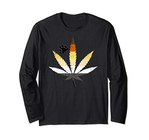 Distressed Gay Bear Pride Flag Marijuana Pot Leaf Long Sleeve T-Shirt