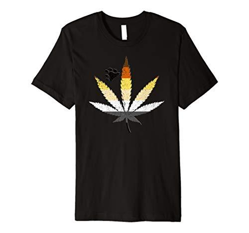 Distressed Gay Bear Pride Flag Marijuana Pot Leaf Premium T-Shirt