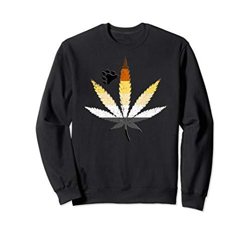 Distressed Gay Bear Pride Flag Marijuana Pot Leaf Sweatshirt