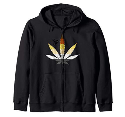 Distressed Gay Bear Pride Flag Marijuana Pot Leaf Zip Hoodie