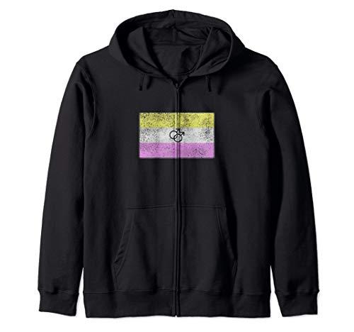 Distressed Gay Twink Pride Flag Zip Hoodie
