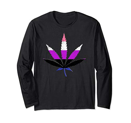 Distressed Genderfluid Pride Flag Marijuana Pot Leaf Long Sleeve T-Shirt