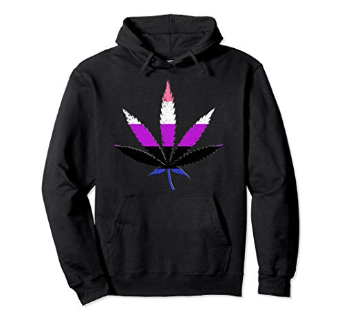 Distressed Genderfluid Pride Flag Marijuana Pot Leaf Pullover Hoodie