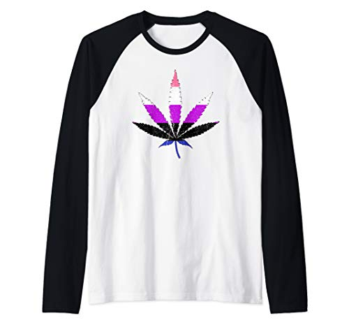 Distressed Genderfluid Pride Flag Marijuana Pot Leaf Raglan Baseball Tee