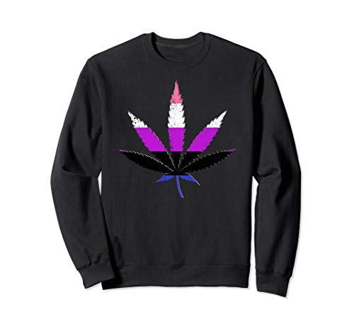 Distressed Genderfluid Pride Flag Marijuana Pot Leaf Sweatshirt