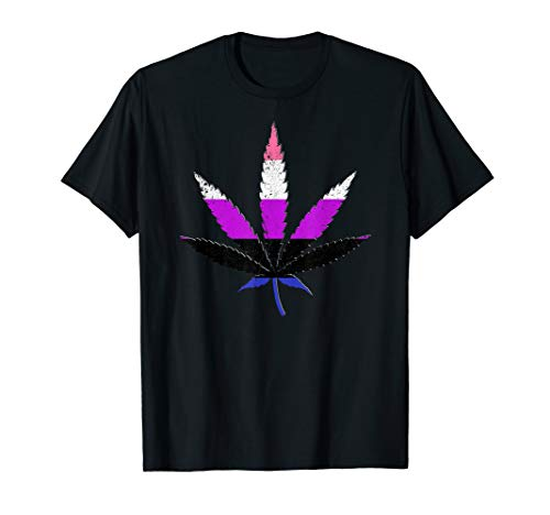 Distressed Genderfluid Pride Flag Marijuana Pot Leaf T-Shirt