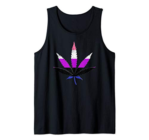 Distressed Genderfluid Pride Flag Marijuana Pot Leaf Tank Top