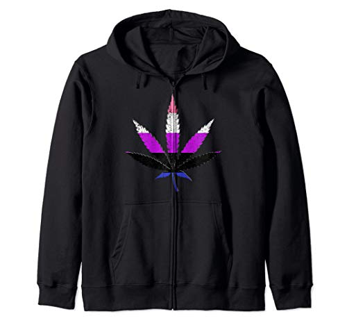 Distressed Genderfluid Pride Flag Marijuana Pot Leaf Zip Hoodie
