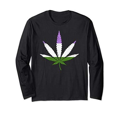 Distressed Genderqueer Pride Flag Marijuana Pot Leaf Long Sleeve T-Shirt