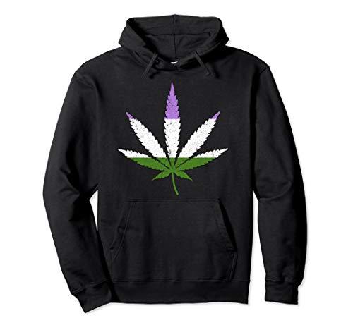 Distressed Genderqueer Pride Flag Marijuana Pot Leaf Pullover Hoodie