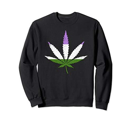 Distressed Genderqueer Pride Flag Marijuana Pot Leaf Sweatshirt