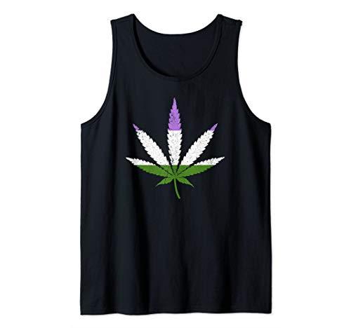 Distressed Genderqueer Pride Flag Marijuana Pot Leaf Tank Top