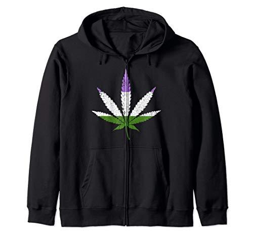 Distressed Genderqueer Pride Flag Marijuana Pot Leaf Zip Hoodie