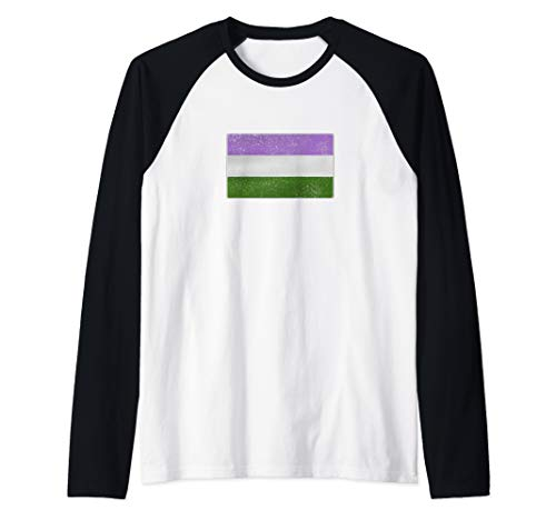 Distressed Genderqueer Pride Flag Raglan Baseball Tee