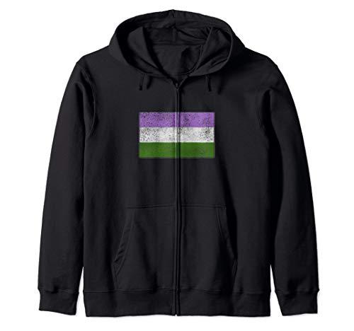 Distressed Genderqueer Pride Flag Zip Hoodie