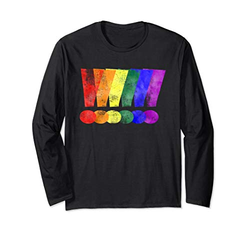 Distressed LGBT Pride Whee! Exclamation Points Long Sleeve T-Shirt