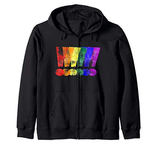Distressed LGBT Pride Whee! Exclamation Points Zip Hoodie
