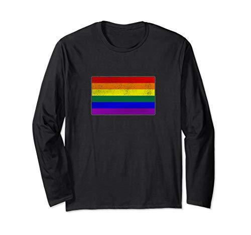 Distressed LGBTQ Gay Pride Flag Long Sleeve T-Shirt