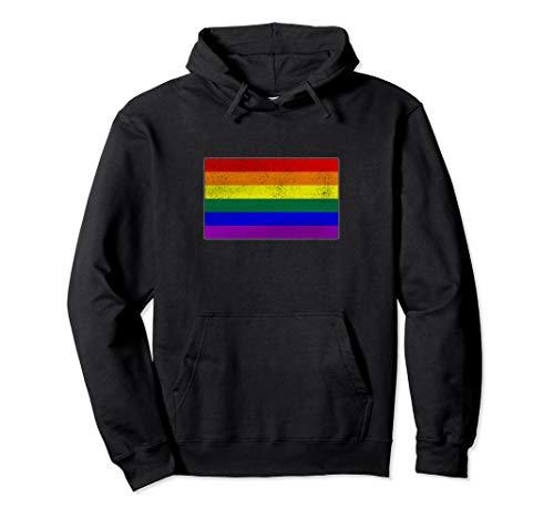 Distressed LGBTQ Gay Pride Flag Pullover Hoodie