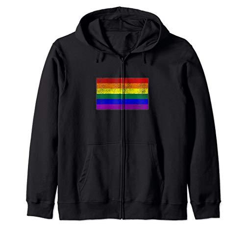 Distressed LGBTQ Gay Pride Flag Zip Hoodie