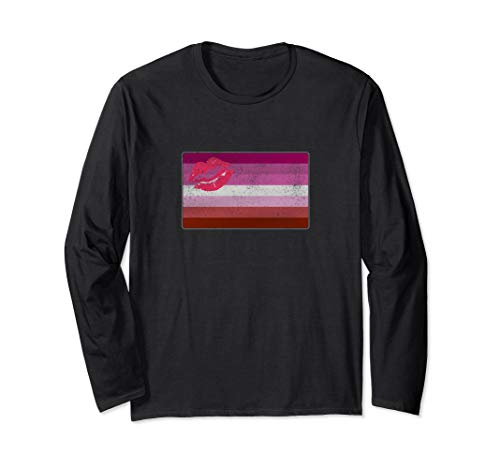Distressed Lipstick Lesbian Pride Flag Long Sleeve T-Shirt