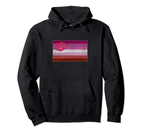 Distressed Lipstick Lesbian Pride Flag Pullover Hoodie