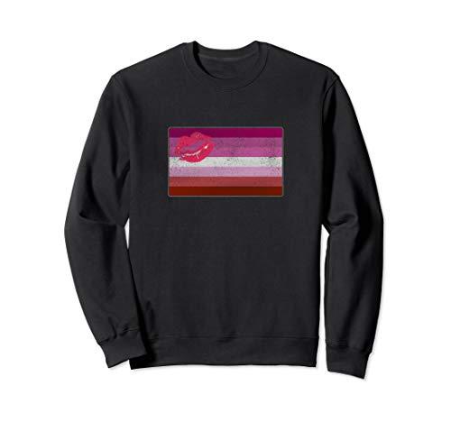 Distressed Lipstick Lesbian Pride Flag Sweatshirt