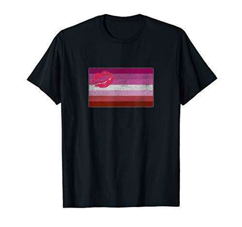 Distressed Lipstick Lesbian Pride Flag T-Shirt