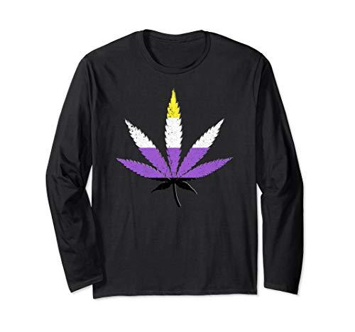 Distressed Nonbinary Pride Flag Marijuana Pot Leaf Long Sleeve T-Shirt