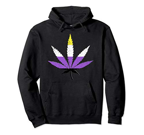Distressed Nonbinary Pride Flag Marijuana Pot Leaf Pullover Hoodie