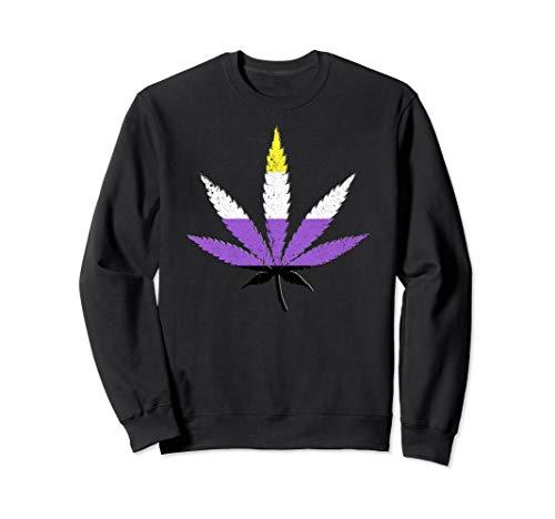 Distressed Nonbinary Pride Flag Marijuana Pot Leaf Sweatshirt