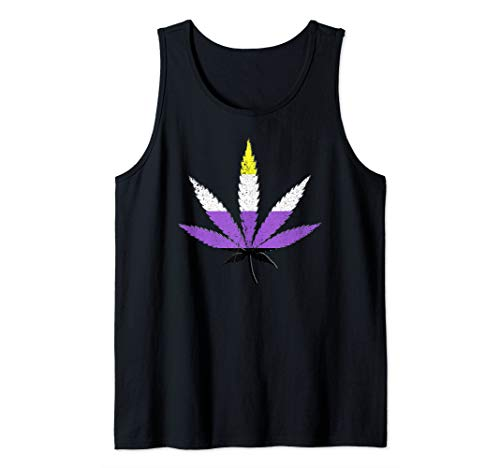 Distressed Nonbinary Pride Flag Marijuana Pot Leaf Tank Top