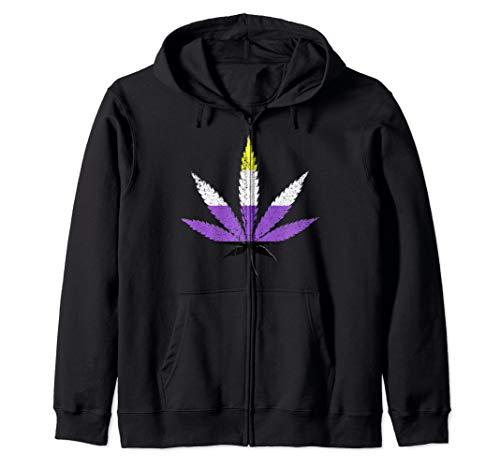 Distressed Nonbinary Pride Flag Marijuana Pot Leaf Zip Hoodie
