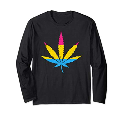 Distressed Pansexual Pride Flag Marijuana Pot Leaf Long Sleeve T-Shirt