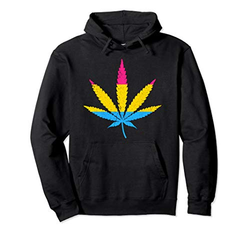 Distressed Pansexual Pride Flag Marijuana Pot Leaf Pullover Hoodie