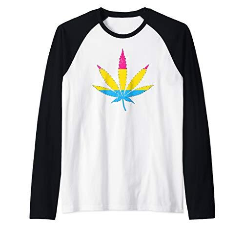 Distressed Pansexual Pride Flag Marijuana Pot Leaf Raglan Baseball Tee