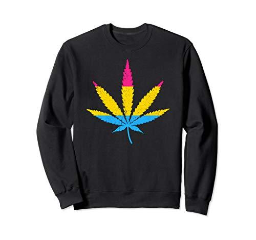 Distressed Pansexual Pride Flag Marijuana Pot Leaf Sweatshirt
