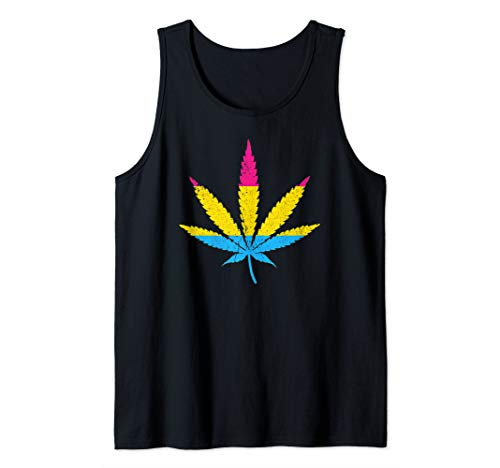 Distressed Pansexual Pride Flag Marijuana Pot Leaf Tank Top