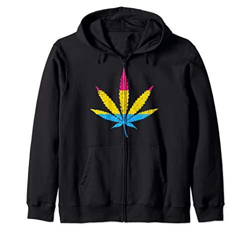 Distressed Pansexual Pride Flag Marijuana Pot Leaf Zip Hoodie