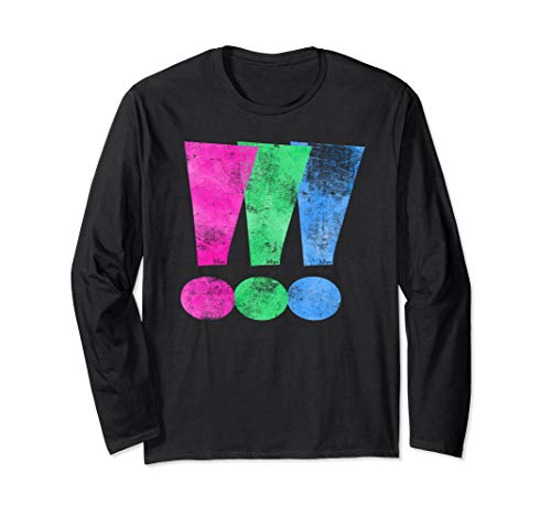 Distressed Polysexual Pride Exclamation Point Long Sleeve T-Shirt