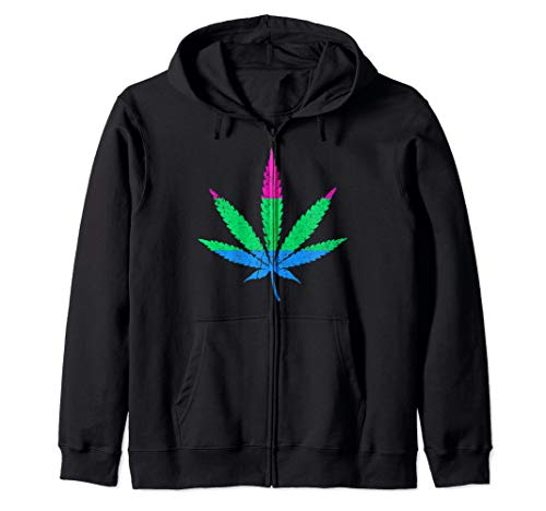 Distressed Polysexual Pride Flag Marijuana Pot Leaf Zip Hoodie