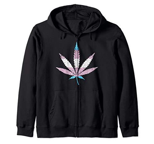 Distressed Transgender Pride Flag Marijuana Pot Leaf Zip Hoodie