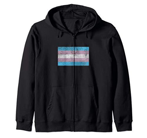Distressed Transgender Pride Flag Zip Hoodie