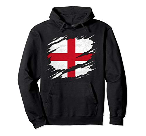 Flag of England St. George's Cross Ripped Reveal Pullover Hoodie