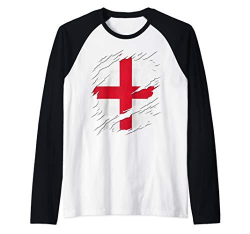 Flag of England St. George's Cross Ripped Reveal Raglan Baseball Tee